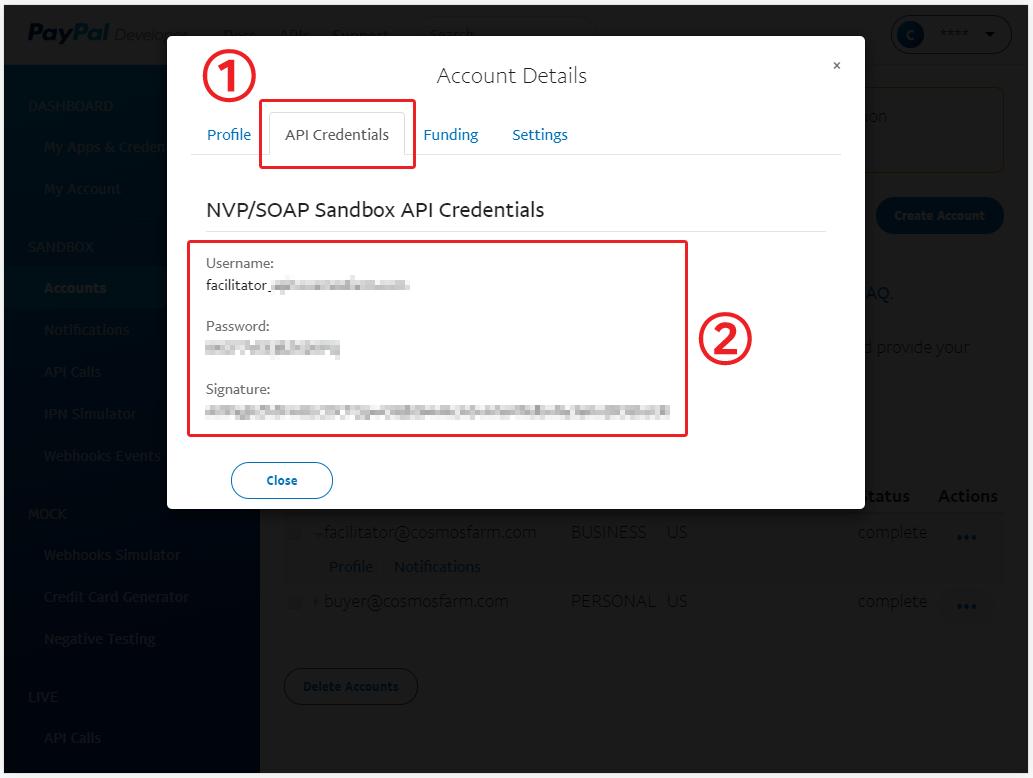 API Credentials 탭에서 API 사용자 이름을 확인합니다.