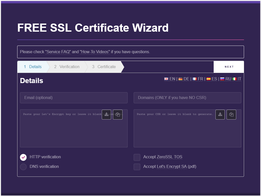 ZeroSSL 페이지를 방문하세요.