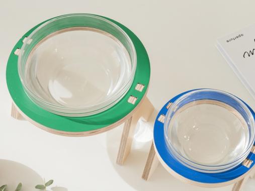 [썸큐브] 강아지 고양이 원목 물그릇 밥그릇 식기 수반 찹찹이