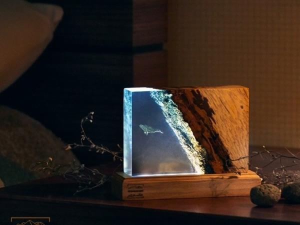[우드먼트]  원목 바다 고래 LED 무드등